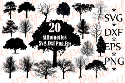 Tree Svg Bundle, TREE SILHOUETTE SVG, Trees Clipart