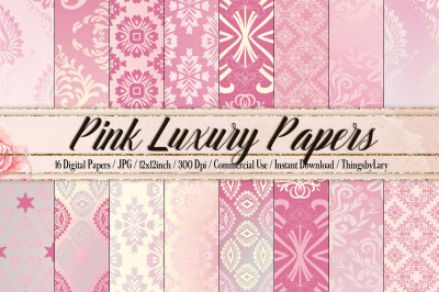 16 Pink Damask Texture Papers&2C; Ombre Paper&2C; Luxury Vintage Paper