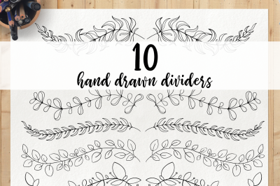 Hand drawn dividers - doodle borders clipart, divider elements