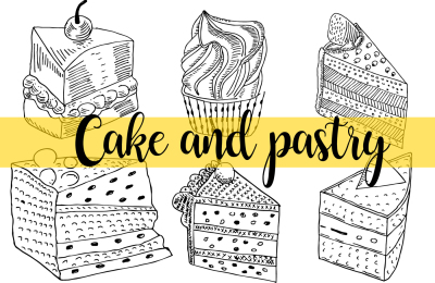 Hand drawn Cake and Pastry Line Drawing