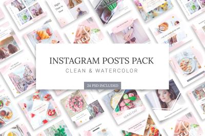 Instagram Watercolor Posts Pack