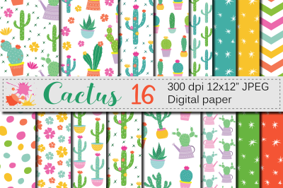 Cactus digital paper / Cute cacti plants seamless patterns