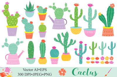 Cactus clipart, Cute potted cacti plants vector graphics