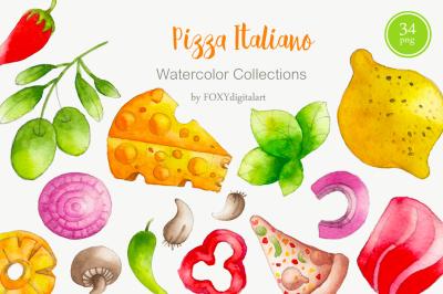 Watercolor Pizza Party & Restaurant Clipart