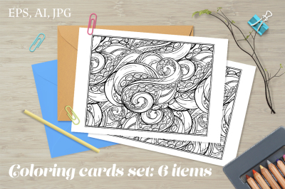 Tangled tentacles coloring cards set