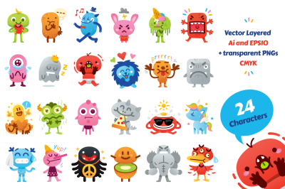 24 Cute Freak Monster Emoji Set