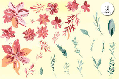 Watercolor Blush Flower and Leaf collection - watercolor floral design
