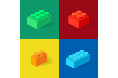 Isometric Plastic Building Blocks with shadow.