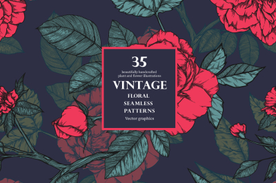 35 Vintage seamless patterns with roses