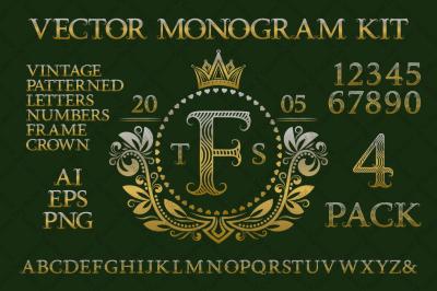 Vintage monogram kit pack 4