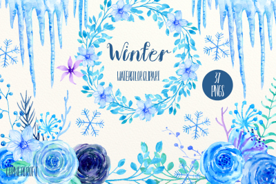Watercolor Clipart Winter