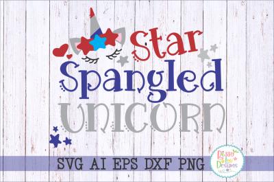 Star Spangled Unicorn SVG DXF EPS PNG AI