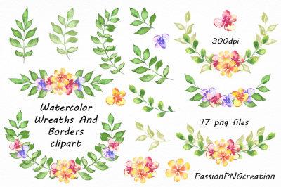 Watercolor floral Wreaths