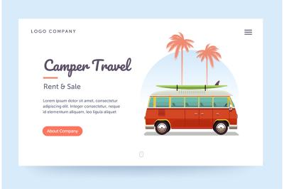 Camper travel website template. Surfing retro van illustration