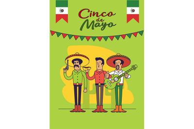 Cinco De Mayo poster design. Mexicans characters set.