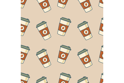 Paper coffee cups. Seamless pattern. Retro style. Vector illustration