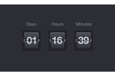 Vector flip countdown timer. Clock counter for websites and interfaces