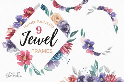 Jewel Watercolor Frames Purple Red Floral Flower Borders Set