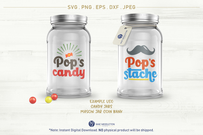 Pop's Stache, Pop's Candy - cut files in svg, jpg, dxf, png, eps