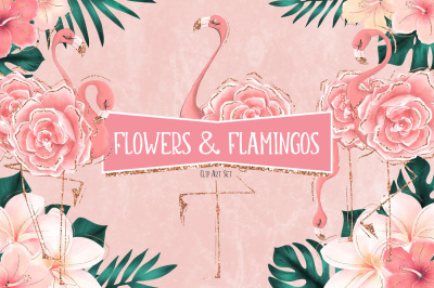 Tropical Flowers & Flamingos Clip Art