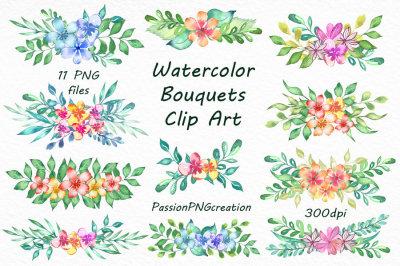 Watercolor bouquets clipart