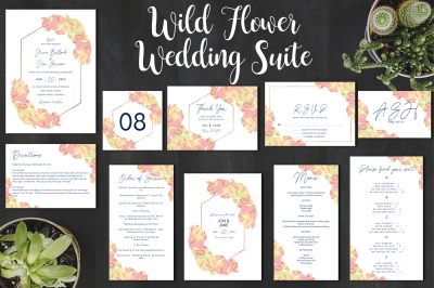 Wild Flower Wedding Invitation Collection - watercolor floral designs