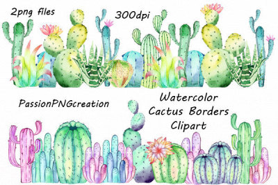Watercolor Cactus Borders Clipart