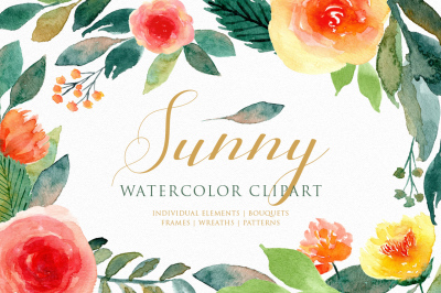 Sunny - Watercolor Floral Clipart