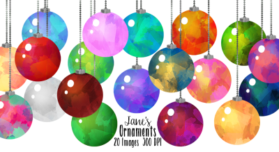 Watercolor Christmas Ornament Clipart