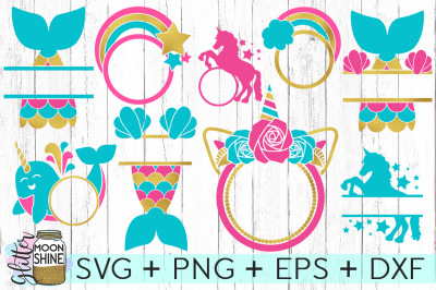 Magical Monogram Frame Bundle of 9 SVG DXF PNG EPS Cutting Files