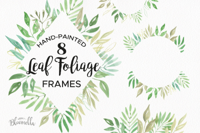 Foliage Watercolor Clipart Frames Greenery Leaves Leaf Pretty