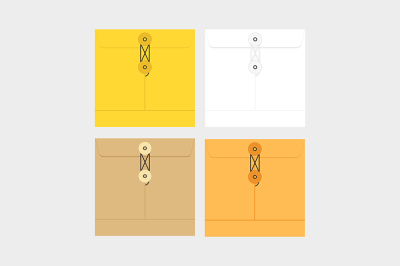 Tied Sealed Letter Envelopes.Brown, yellow and white colors.