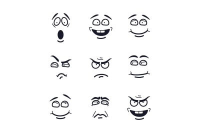 Vector cartoon faces with expressions.