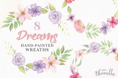 Watercolor Floral Flower Wreaths Hand Painted Dreams Set Clipart