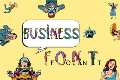 Business font vector pop art