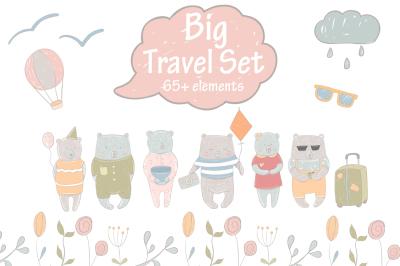 Big travel set Vector clipart