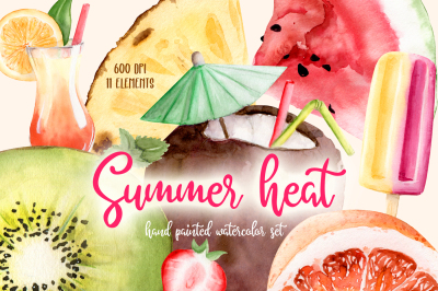 Summer Heat Watercolor Set Clipart