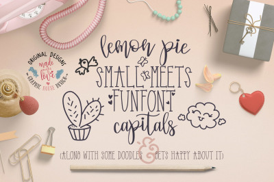 Font Duo Lemon Pie Small and Funfont Capitals with Doodles