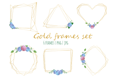 Gold frames with hydrangea