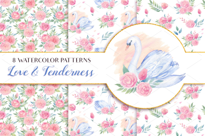 Love & Tenderness Watercolor Patterns