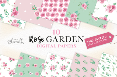 Rose Garden Pink Floral Patterns Digital Papers Flowers