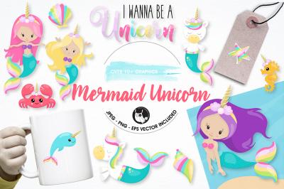 Mermaid unicorn graphics illustrations