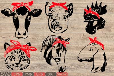 Farm Animals whit Bandana Silhouette SVG cow horse cat goat pig 849S