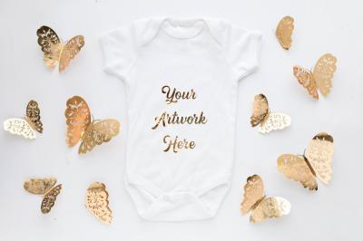 Babygrow, romper suit, onsie mockup - gold butterflys