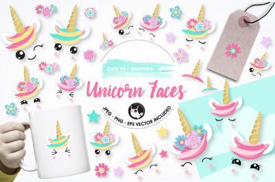 Unicorn faces graphics illustrations