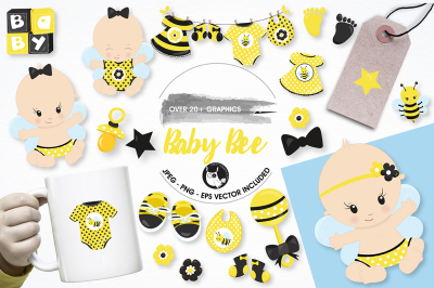 Baby bee graphics illustrations