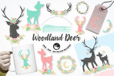 Woodland deer graphics illustrations