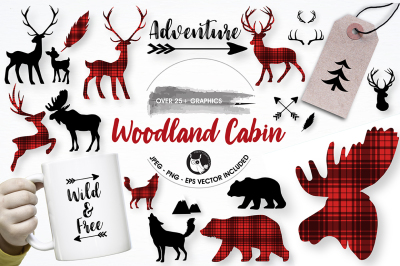 Woodland cabin graphics illustrations