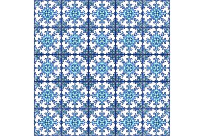 Portuguese azulejo tiles. Blue and white gorgeous seamless