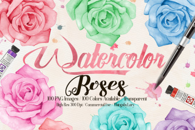 100 Hand Painted Watercolor Romantic Roses Clip Arts